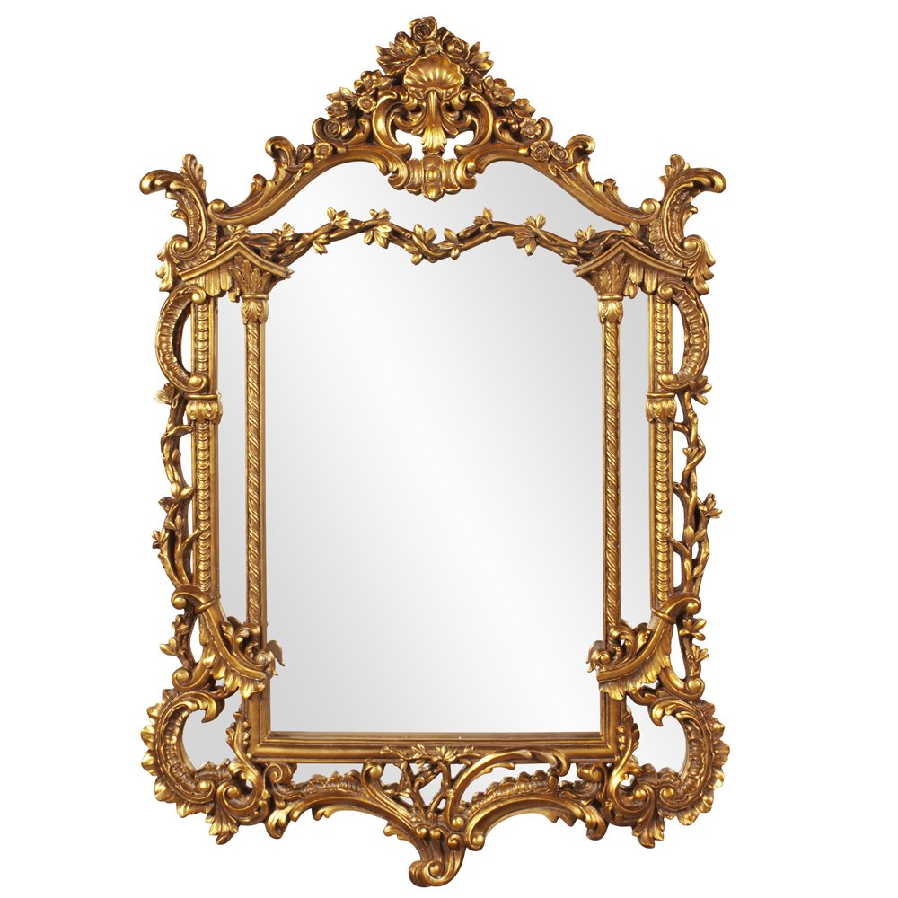 Howard Elliott Arlington Baroque Mirror, Gold Leaf Resin Ornate Frame, Arched Rectangle