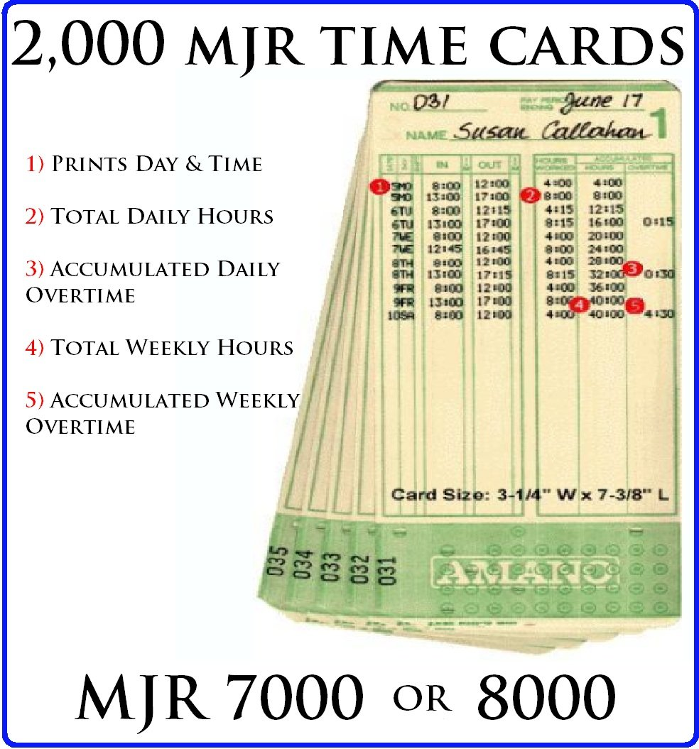 2,000 TIME CARDS FOR AMANO MJR 7000 & 8000 #000-099w/ SAME DAY UPS GROUND SHIPPING ON ALL ORDERS PLACED BEFORE 3:00PM PST!