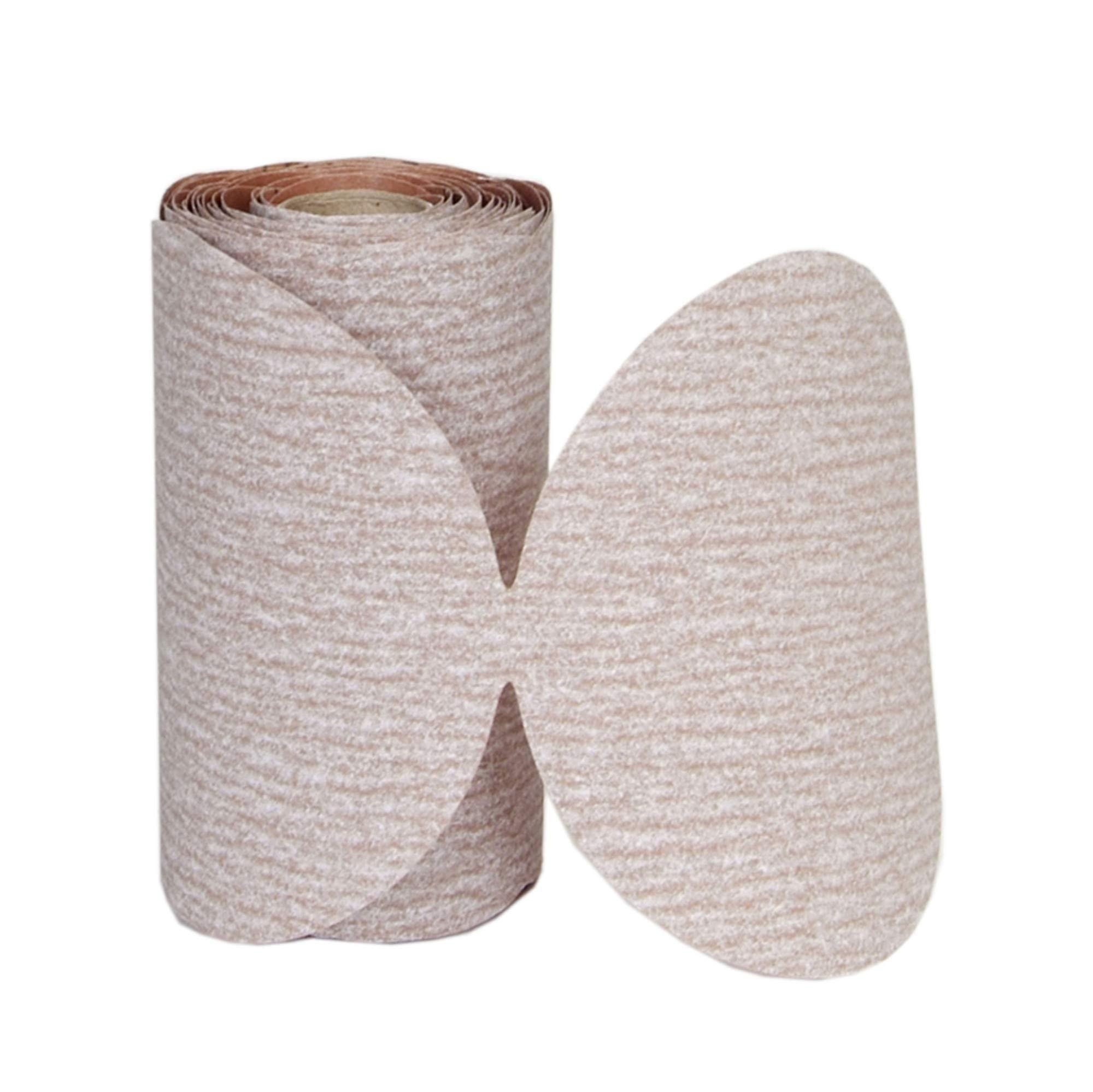 Norton A275 No-Fil Adalox Paper Abrasive Disc, Fiber Backing, Pressure-Sensitive Adhesive, Aluminium Oxide, 5'' Diameter, Grit 100 (Roll of 100)
