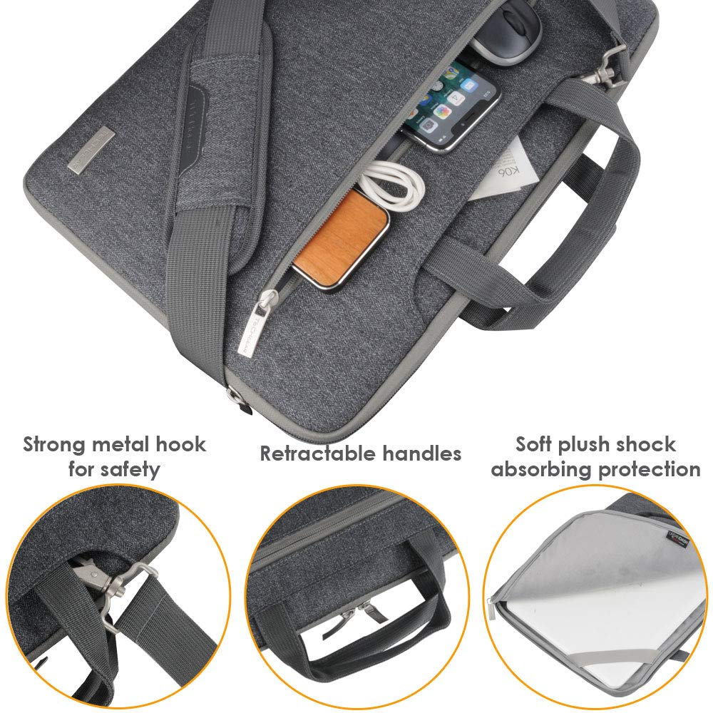 Pockets GREY Luggage Strap /& Suppressible Handles Portable Multi-function Laptop Case with Adjustable Shoulder Strap TECHGEAR Case for 12.8-13.3 Laptops Portable Sleeve Organiser Case Cover