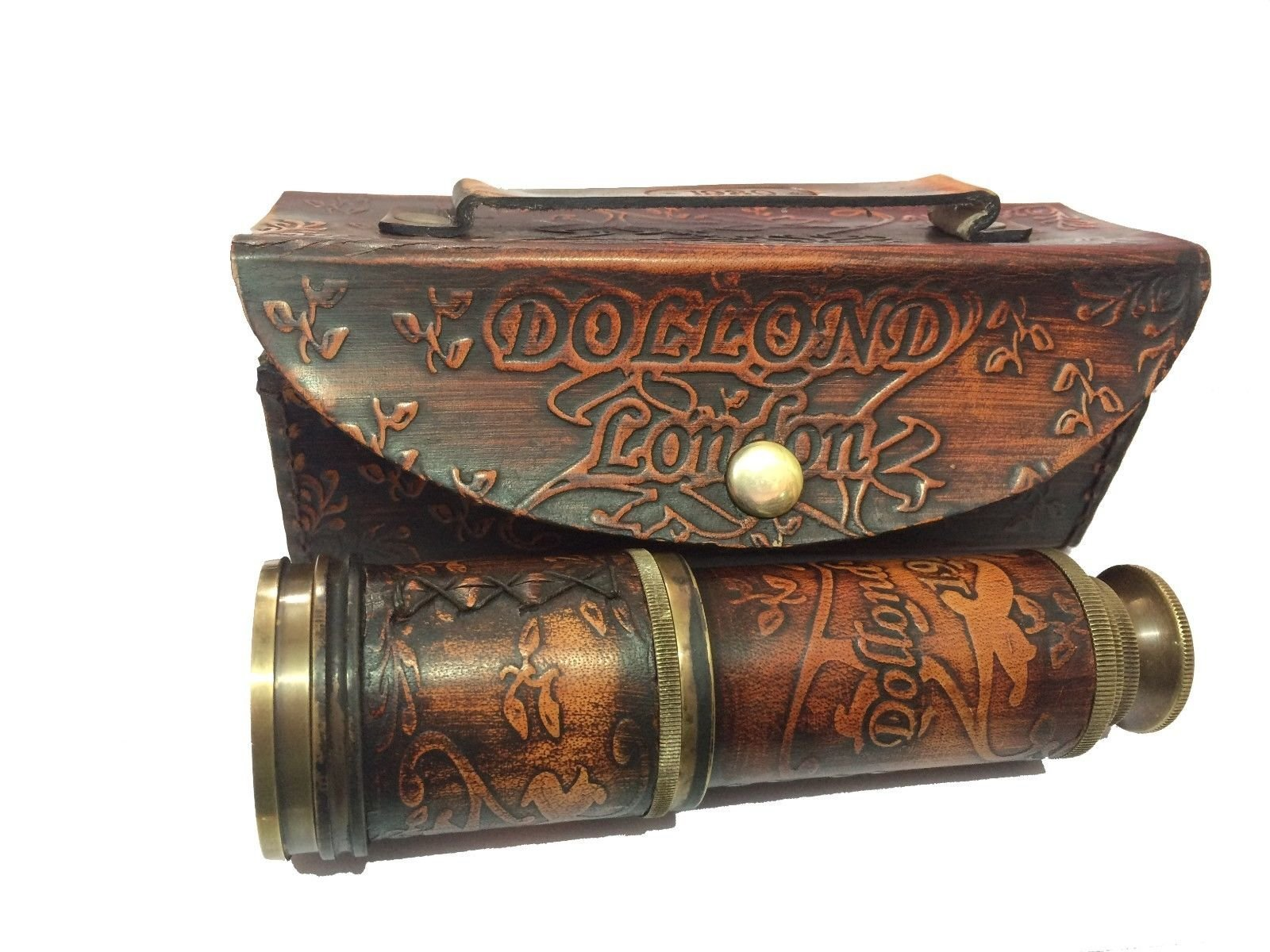 Marine Nautical Store Vintage Antique Maritime Brass Leather Telescope Pirate Spyglass Scope w/Cover