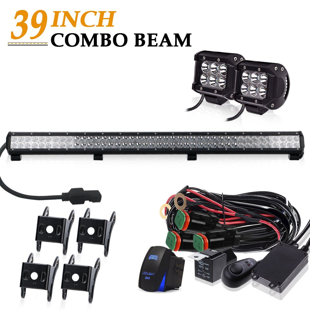 39 INCH 252W LED Light Bar 25200LM 6000K Waterproof IP67 + 2PCS Fog Lights + 3LEAD Rocker Switch Wiring Harness Kit for Offroad Chevrolet GMC Dodge Ram Ford F150 Jeep Toyota Truck SUV ATV UTV OSRAM CHIPS OSRAM CHIPS 12V~24V QuakeWorld
