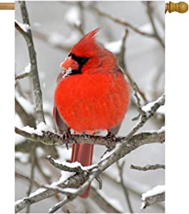 Pickako Cardinal Birds on Winter Snow Branch Tree Snowy Seasonal Landscape House Flag 28 x 40 Inch, Double Sided Large Garden Yard Welcome Flags Banners for Home Lawn Patio Outdoor Decor