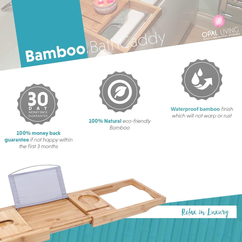100% Natural Bamboo Bath Caddy: BathTub Rack Bath Tray with ...