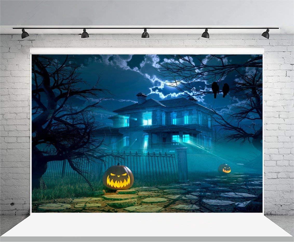 7x5ft Happy Halloween Backdrop Vinyl Photography Background Pumpkin Latern Haunted Spooky Creepy Iron Fence Trees Birds Children Kids Party Background Studio Props
