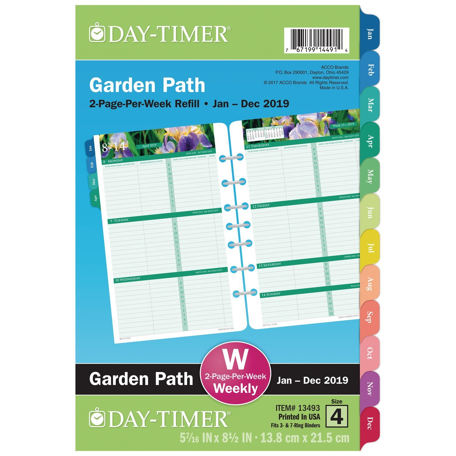 AT-A-GLANCE 2019 Weekly Planner Refill, 5-1/2'' x 8-1/2'', Desk Size 4, Loose Leaf, Two Pages Per Week, Garden Path (13493)