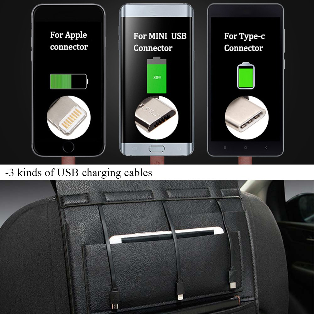 YOANKU PU Leather Car Backseat Organizer with USB Charger Cables Waterproof Car Seat Back Organizer Multi-Pocket Travel Storage Bag Shenzhen Youwei Trade Co Ltd