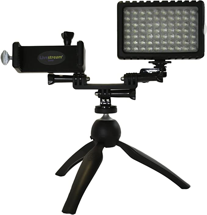 Cellfy Inc 720 Videos Clamp w//Lg. Holder Livestream Gear Fits Larger Sized Devices Desk Clamp Setup with Dimmable LED Light for Live Stream and Dimmable LED Light to Adjust Brightness. or YouTube