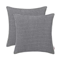 BRAWARM Cozy Throw Pillow Covers Cases for Couch Sofa Bed Solid Corduroy Corn Striped Comfortable Cushion Covers with Piped Edges for Home Decoration 18 X 18 Inches Neutral Gray Pack of 2