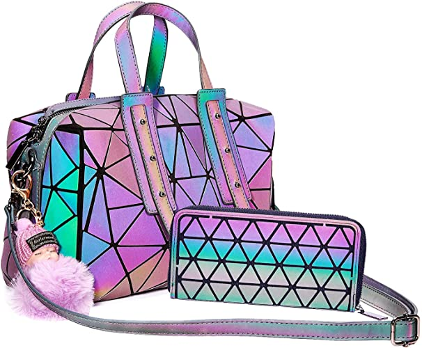 Geometric Handbag Luminous Women Tote Bag Holographich Purses and Handbags Flash Reflactive Crossbody Bag for Women