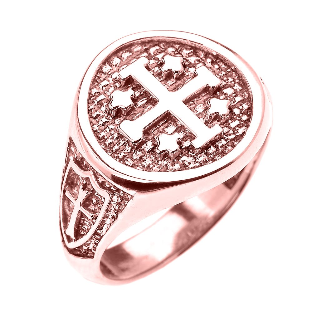 10k Rose Gold Knights Templar Shield Crusader Band Jerusalem Cross Ring for Men (Size 12)