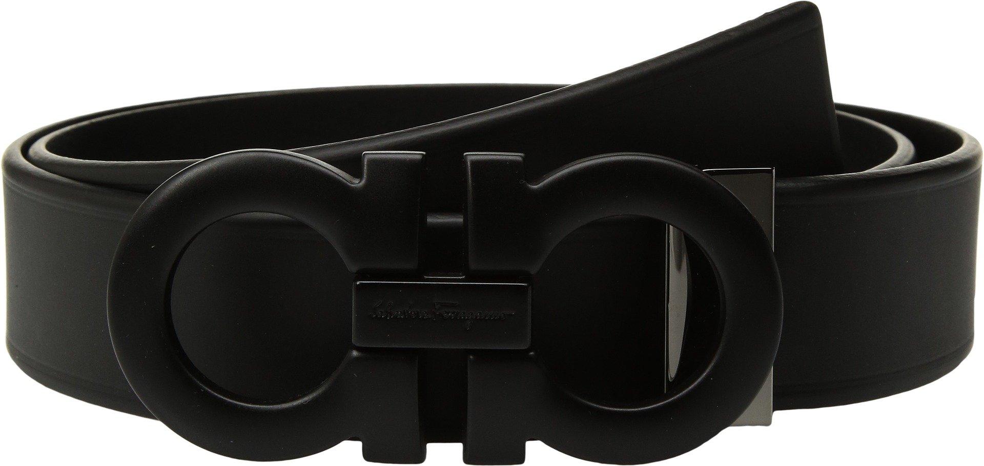 Salvatore Ferragamo  Men's Adjustable Tonal Gancini Belt - 679673 Black 36