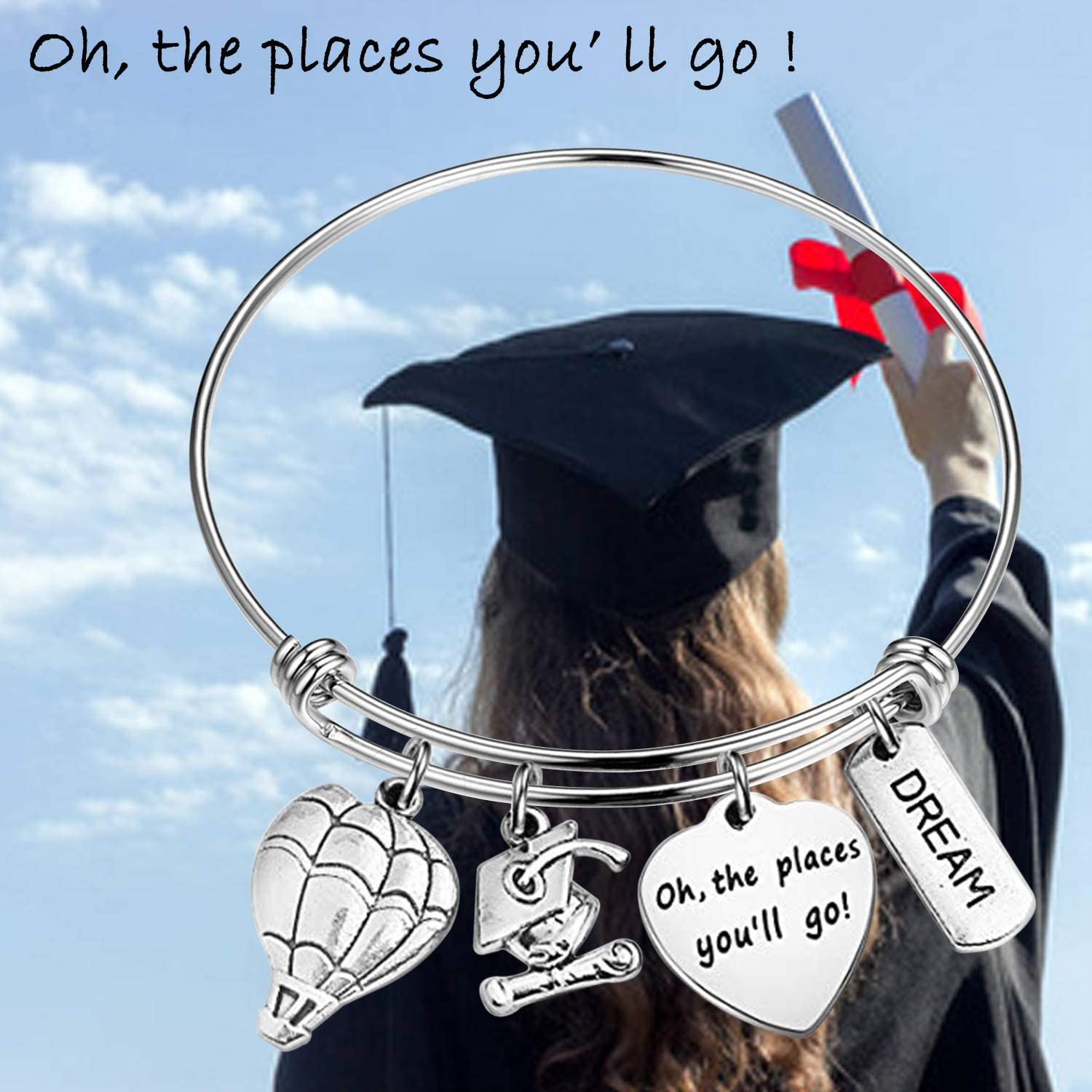 Wanderlust Explore World Oh The Places You/'ll Go Class of 2019 Graduation Cap Dainty Stainless Steel Stacking Band Ring