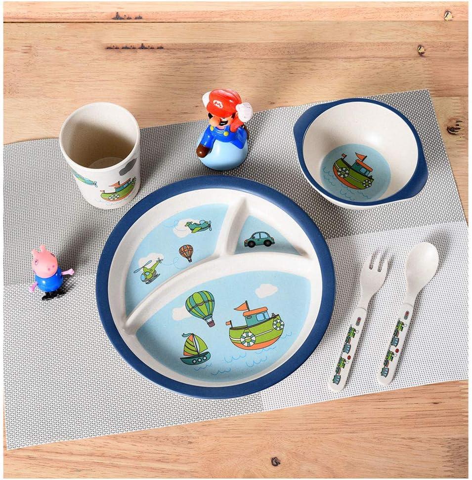 Bamboo Fiber Child Tableware Baby Cutlery Plate Tableware Feeding 5Pcs//Set UK