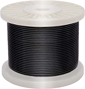 Derrun Vinyl Coated Wire Rope,Black Coated Covered 304 Stainless Steel Wire cable, 200 Feet 1/16 Inch Overmolded to 3/32 Inch