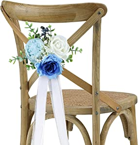 Rinlong Wedding Aisle Decorations Church Chair Bench Pew Bows for Wedding Ceremony Party Decor Vintage Dusty Blue Rose Artificial Flowers Eucalyptus with Ribbons