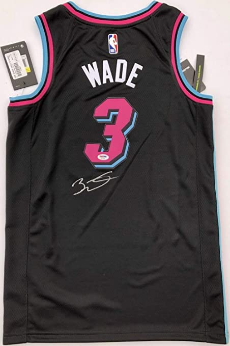 low priced 759a0 38d68 Dwyane Wade #3 Autographed Signed Memorabilia Miami Heat ...
