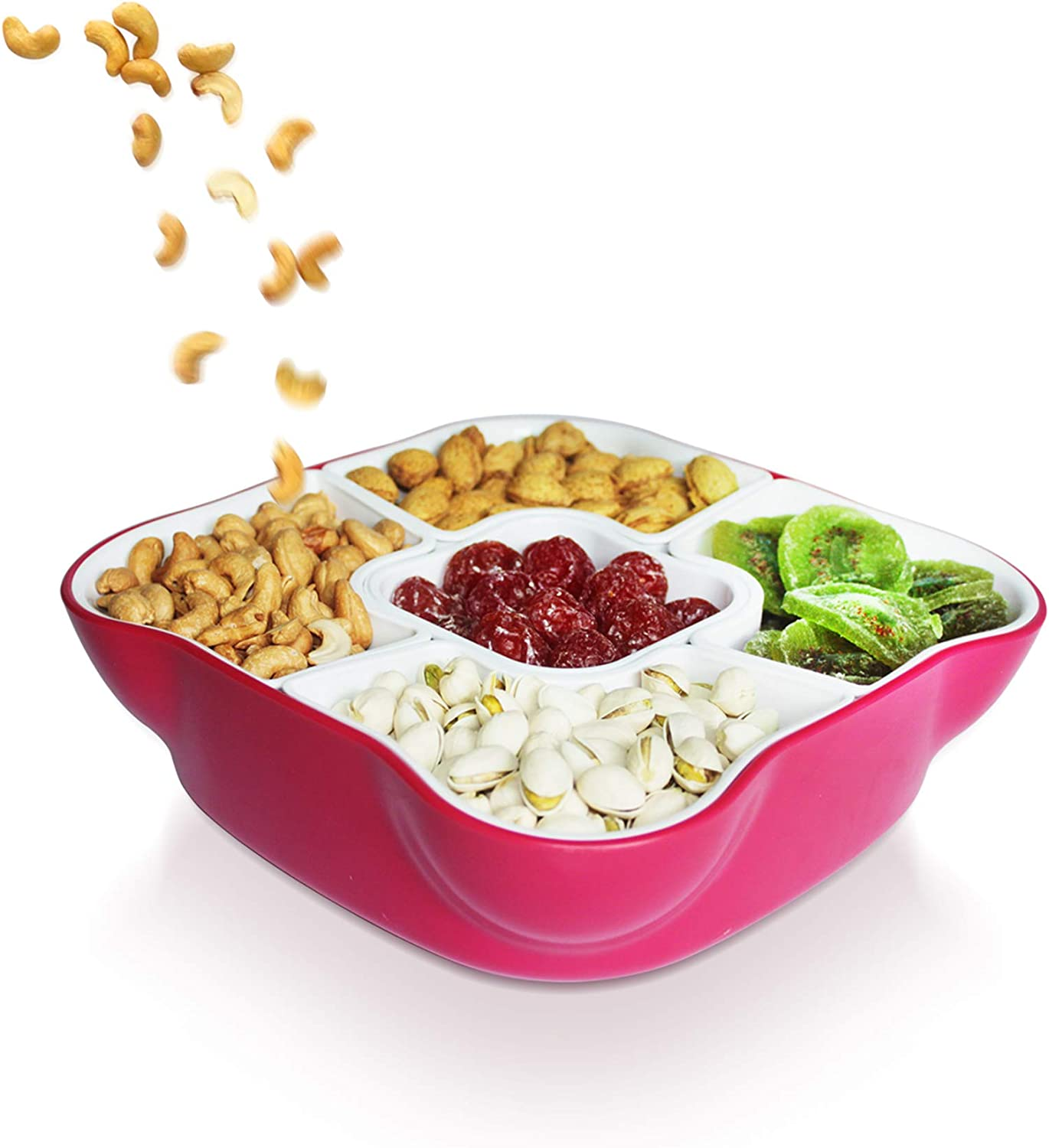 Candy Tray Box with Lid and 5 Removable Compartments, 9.75'' x 9.75'', for Candy Treats, Snacks and Fruits
