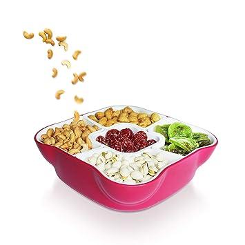 Juego de bandejas para servir aperitivos y tapa, multisección, duraderas y creativas rosa (