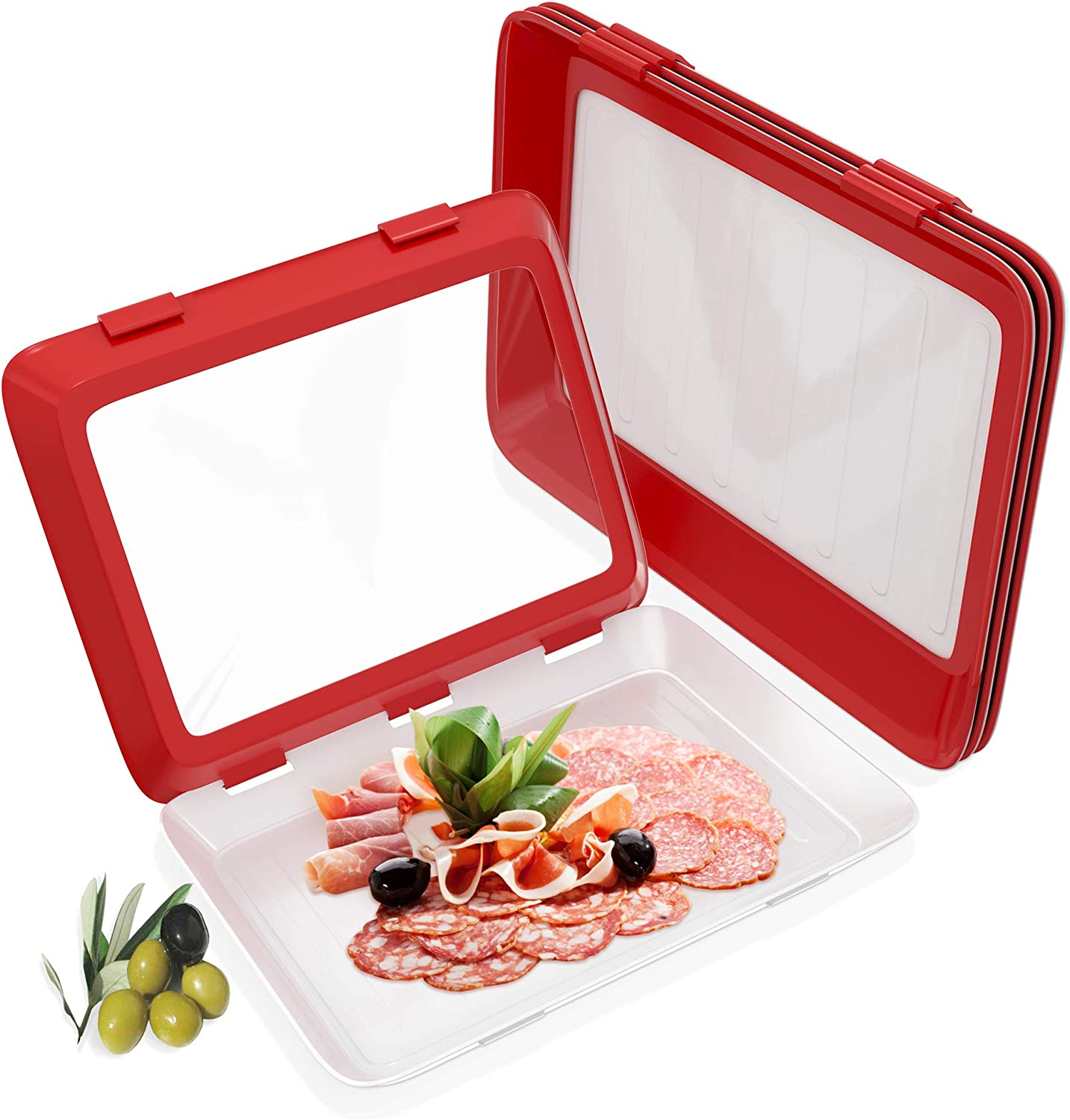 Food Tray Stackable Creative Food Preservation, Kitchen Food Preservation Tray, Plastic Food Storage Container with Elastic Reusable Locking Lid for Refrigerator and Freezer Flat Food (red)