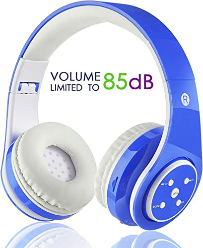 OXENDURE Kids Wireless Bluetooth Headphone with Microphone Volume Limited Foldable Earphone Children Stereo On Ear Headset for PC TV Tablets Smartphones Blue