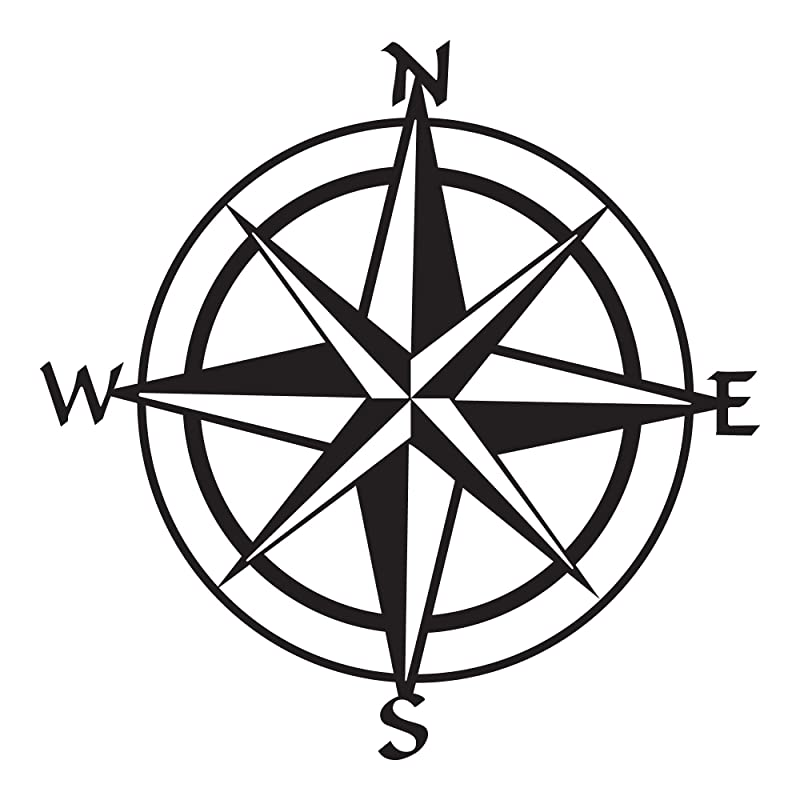 Compass 6x8 FT Backdrop Photographers,Sun Motif Backdrop with Windrose Directions East West North South Navigation Background for Photography Kids Adult Photo Booth Video Shoot Vinyl Studio Props