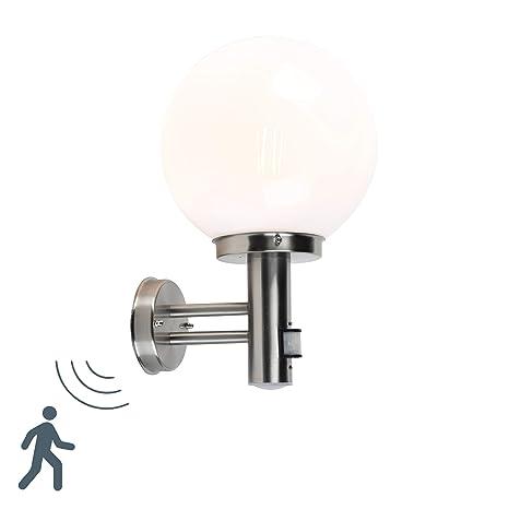 QAZQA Moderno Aplique moderno acero inox esfera opalino IP44 ...