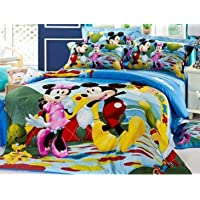 Panipat Texo Fab® Glace Cotton 3D Printed Double Bedsheet with 2 (Two) Pillow Covers (Case) Color- Blue Micky