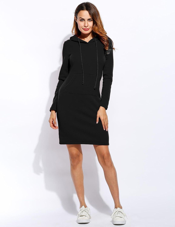Ankidz Women Fashion Slim Hooded Long Sleeve Solid Pencil Hoodie Dress Fashion Hoodies