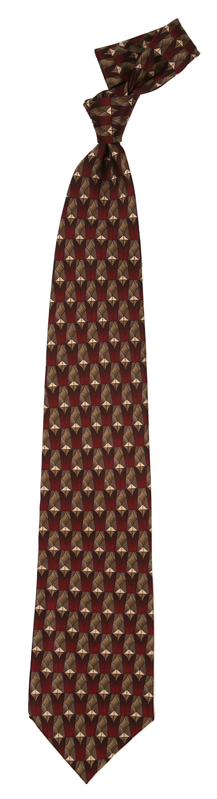 Love Lakeside-Men's 100% Silk, X-Long, Extra Long, Big and Tall Tie Burgundy Foulard