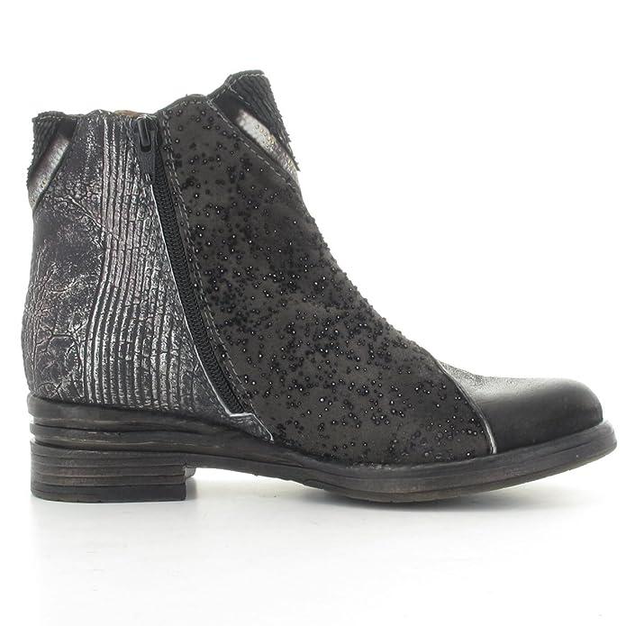 CHARME Stiefelette 0451C - Obermaterial Echtleder schwarz/blau kombiniert -  Lederfutter: Amazon.de: Schuhe & Handtaschen