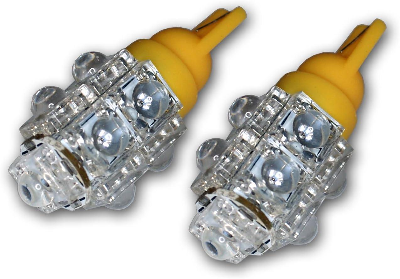 3 LED Red 2-pc Set TuningPros LEDPL-T10-R3 Parking Light LED Light Bulbs T10 Wedge