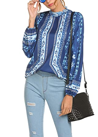 dd6775b3556b00 Womens Tops and Blouses Bohemian Fall Clothes Floral Print Flare Tops  Blouses T Shirts Pastel Blue