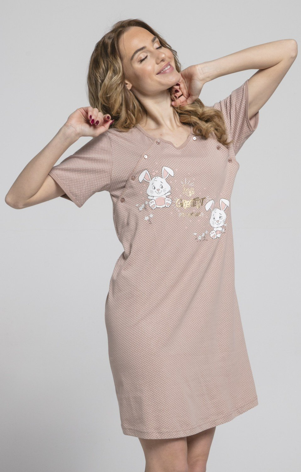 HAPPY MAMA Womens Maternity Hospital Gown Nightie Dots Labour and ...
