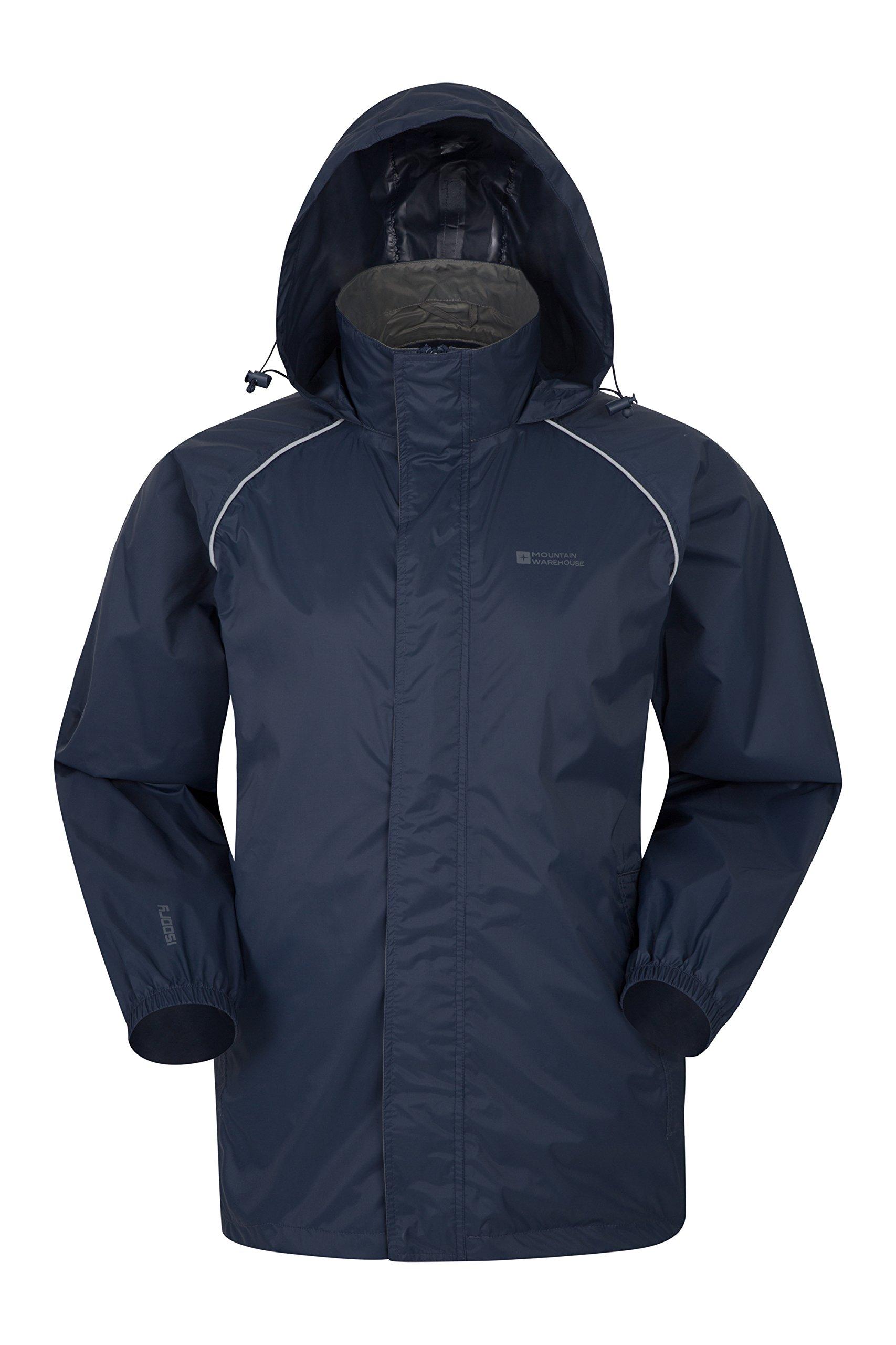Mountain Warehouse Pakka Mens Packable Jacket -Waterproof Summer Coat Navy Medium