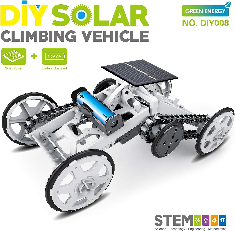 STEM 4WD Coche DIY Vehículo de Escalada Auto de Motor Coche Solar Educativo Coche de Ingeniería para Niños, Juguete de Regalo de Montaje Proyectos de Construcción de Circuitos Experimento Científico