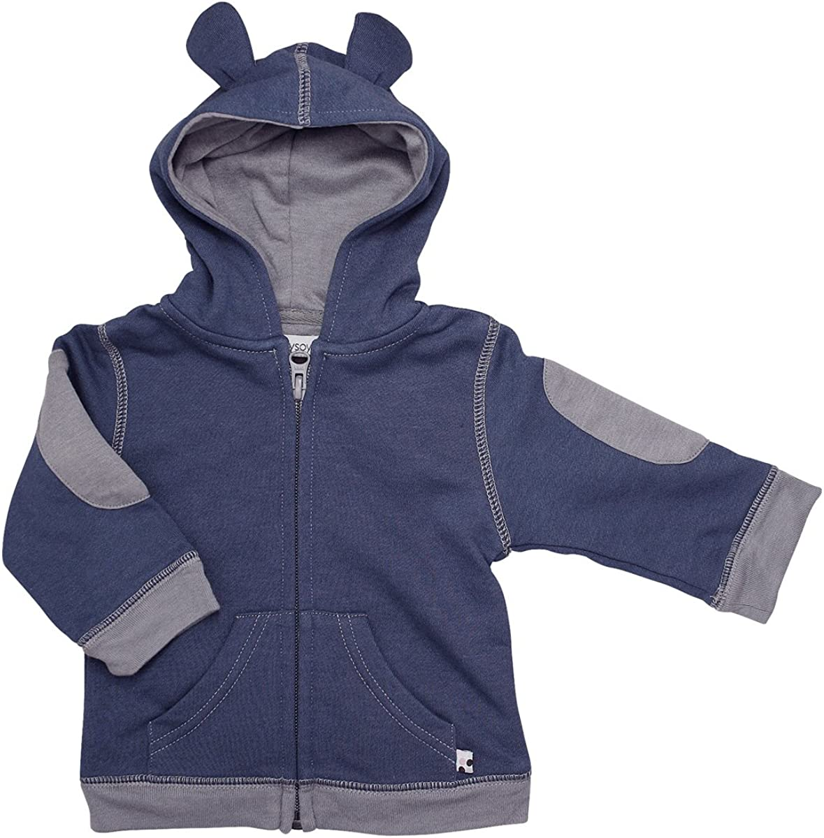 Babysoy Fleece Bunny Ear Zipper Hoodie Jacket Indigo 3T
