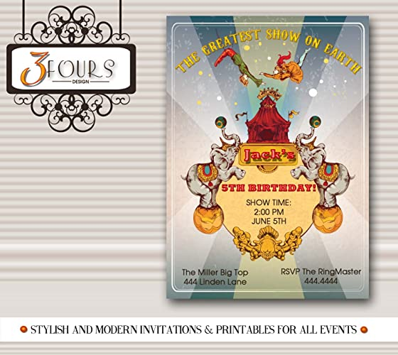Image Unavailable Not Available For Color Vintage Circus Carnival Birthday Party Invitations