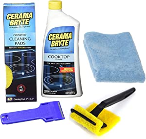 Cerama Bryte - Complete Cooktop Cleaning Kit - Includes 28 oz Cooktop Cleaner, 10 Cleaning Pads, 1 POW-R Grip Pad Tool, 1 Scraper, and 1 Microfiber Cloth