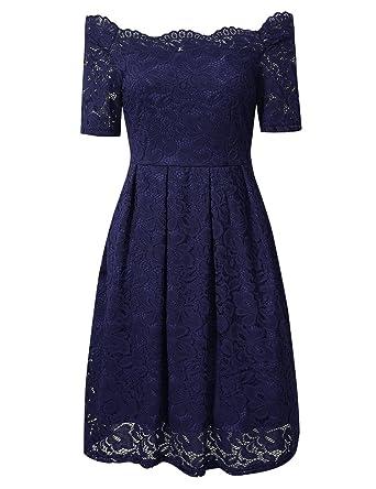 YesFashion Damen Kleid Spitzenkleid Abendkleid Partykleid Knielang A ...