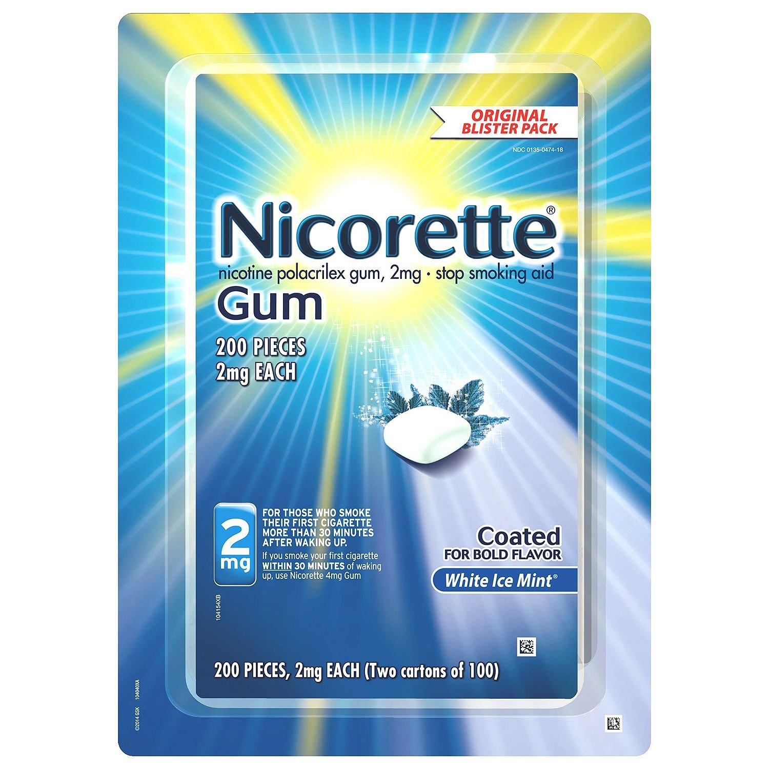 Nicorette Nicotine Gum White Ice Mint 2 milligram Stop Smoking Aid - Value 2 Pack ( 400 Count Total )
