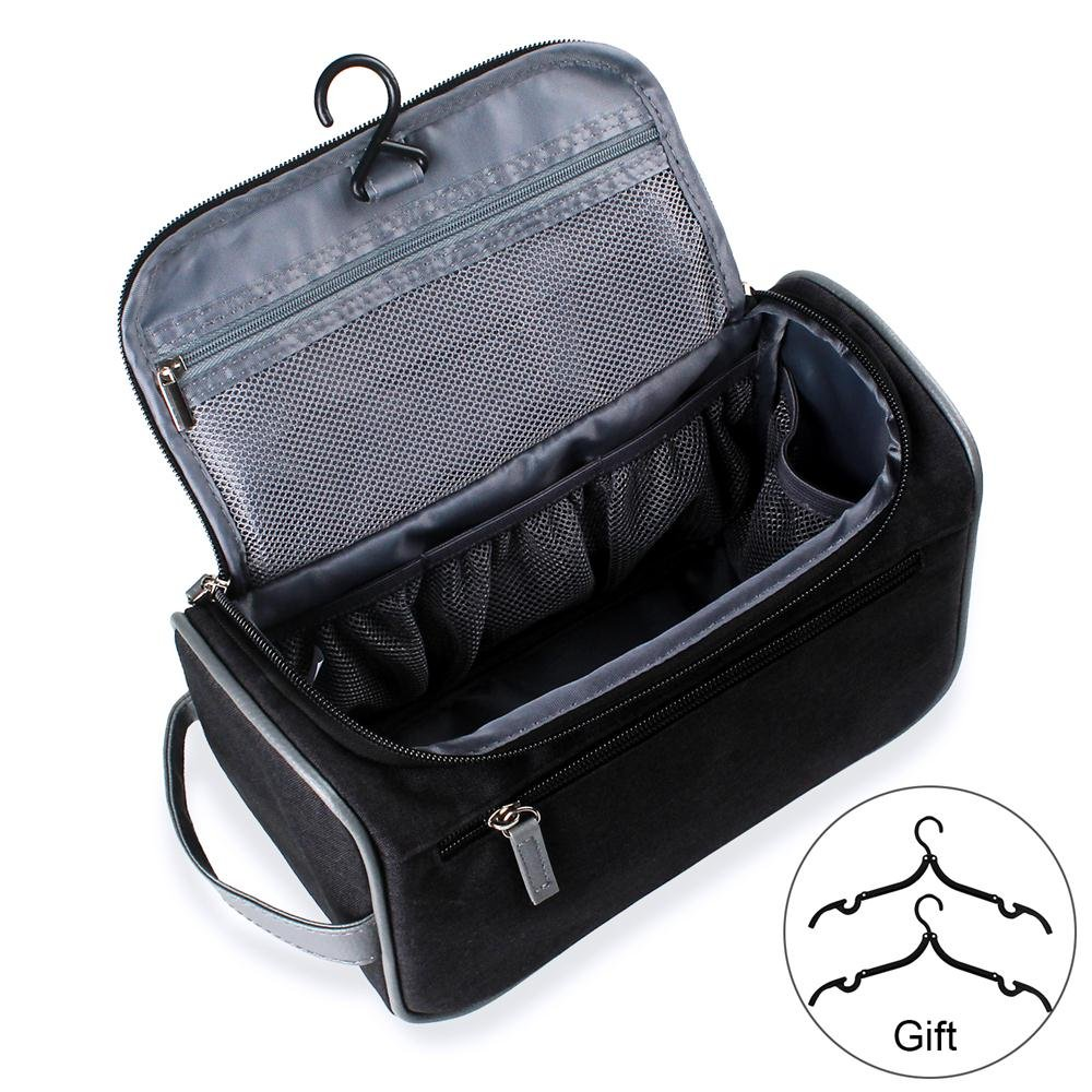 Travel Toiletry Bag Organizer, Jiemei Hanging Wash Bag Shaving Dopp Kit for Men Women, 2 Pack Portable Coat Hangers as GIFT (Dark Black)