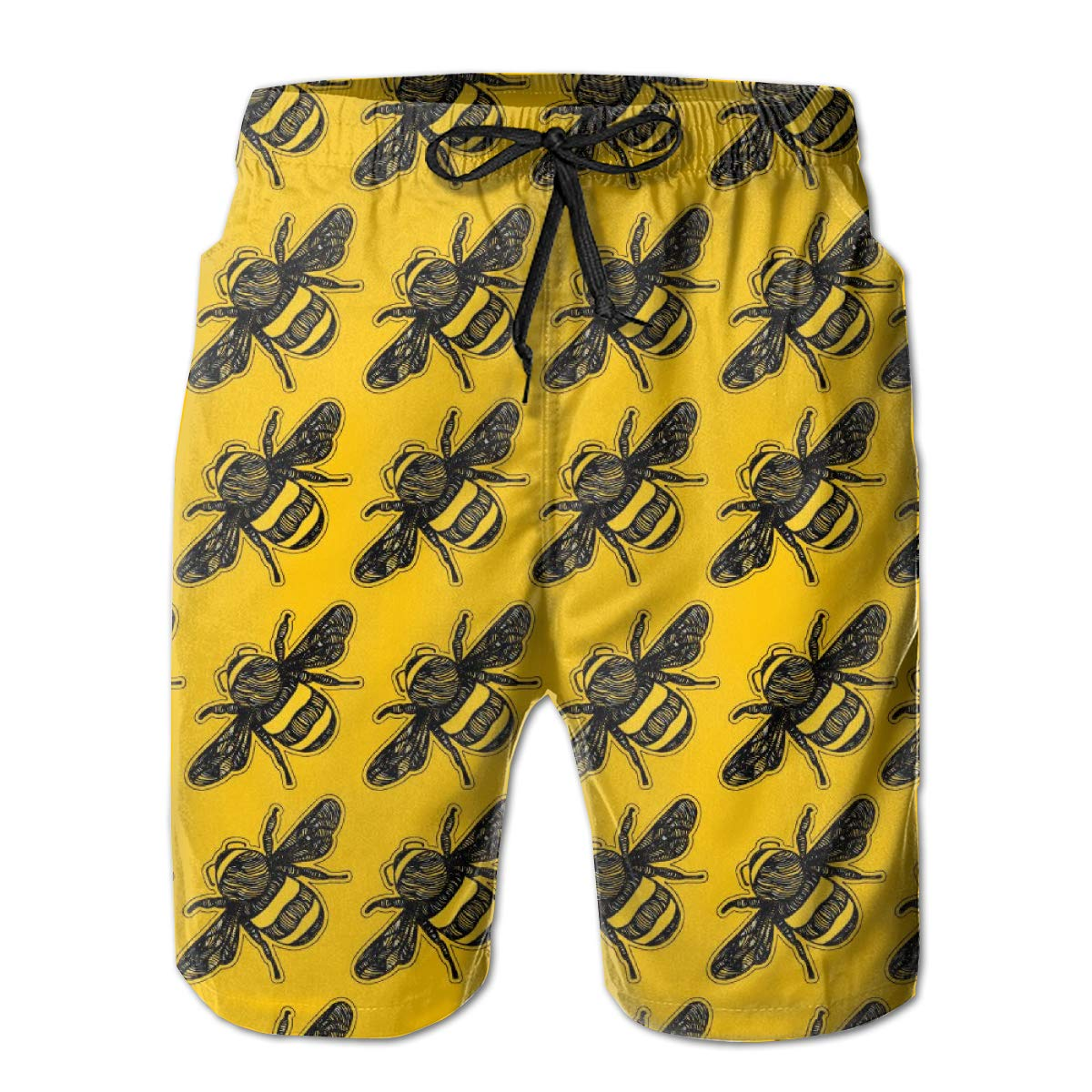 Bumblebee Mode Buzz Mens Swim Trunks Beach Shorts with Mesh Lining Boardshort