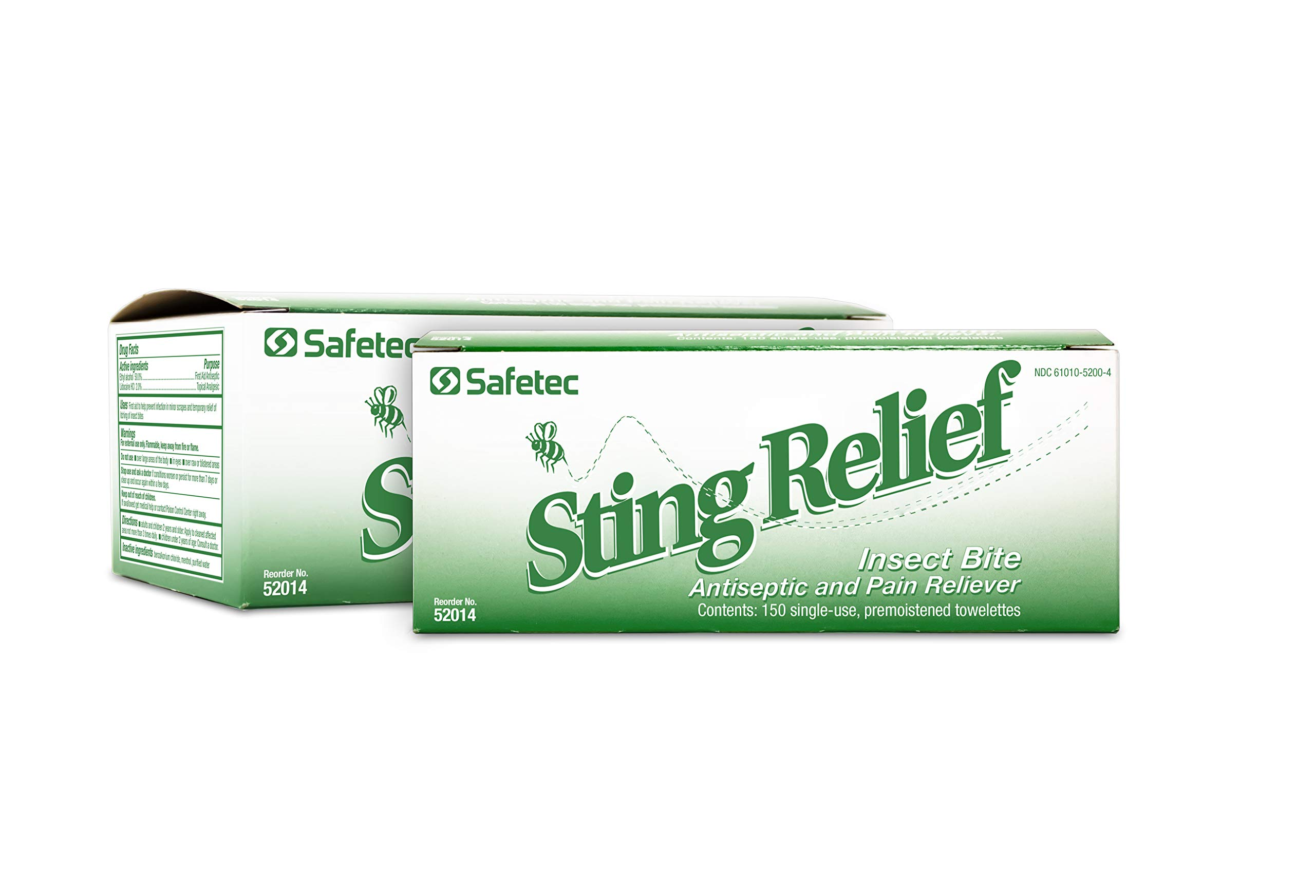 Safetec Sting Relief Wipes 150ct Box (2 Pack of 150ct Wipes - 300 Sting Wipes) for Insect Bites & Stings by Safetec