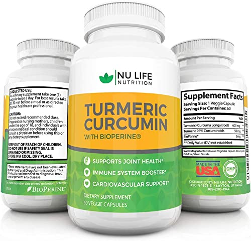 Turmeric Curcumin With Bioperine Black Pepper – High Quality Natural Anti inflammatory 95 Curcuminoids 60 Organic Veggie Capsules