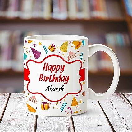 Buy Huppme Happy Birthday Adarsh Personalized Name Coffee Mug 350