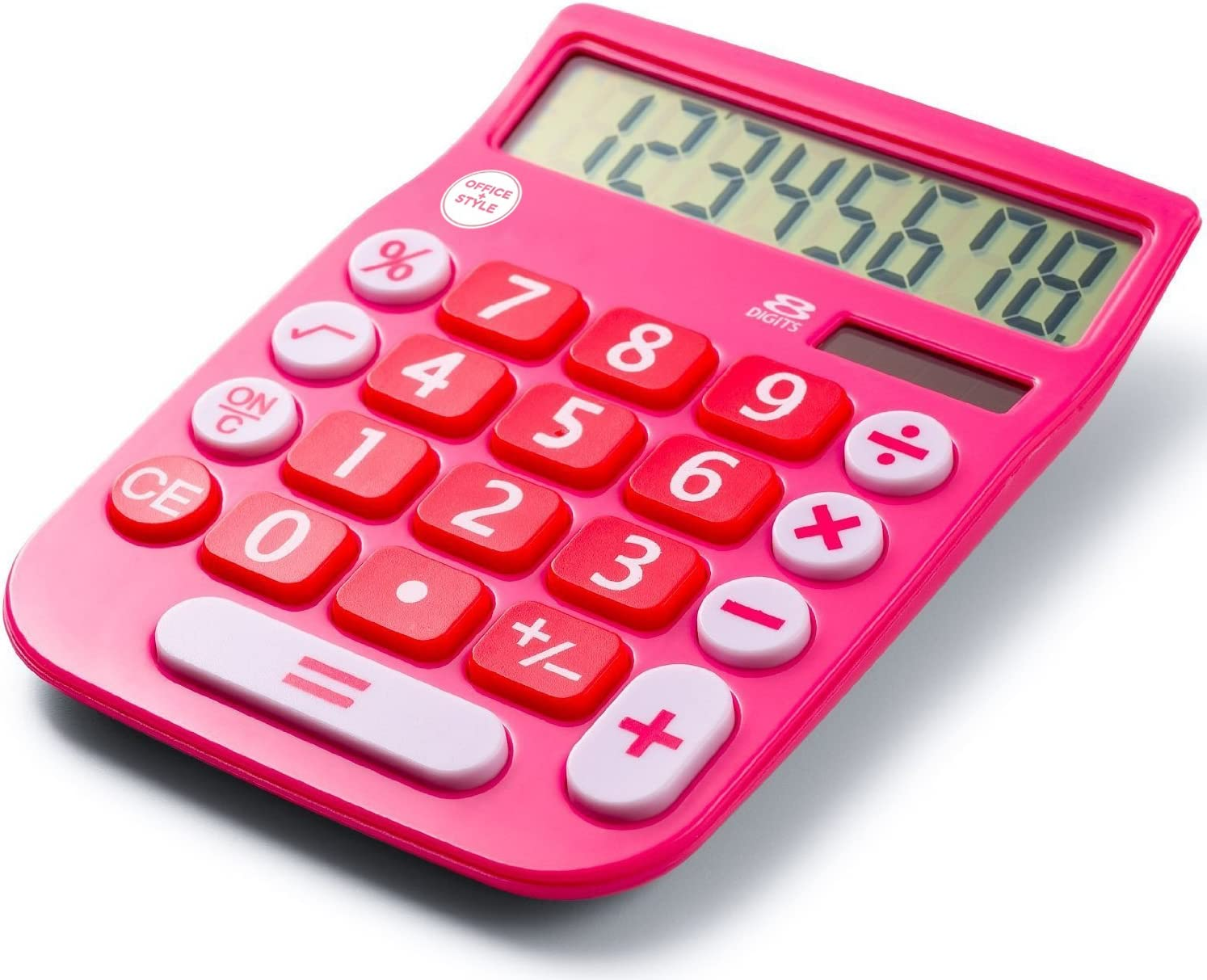 8 Digit Dual Powered Desktop Calculator, LCD Display, Pink- by Office + Style