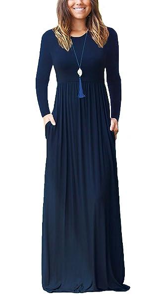 ZIOOER Mujer Moda Bolsillo Manga Larga Casual Loose Vestido de Fiesta de Noche Azul Marino S