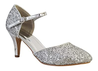 681f54a1716 0028 New Ladies Glitter Ankle Strap Low Heel Prom Party Bridal Sandal   Amazon.co.uk  Shoes   Bags