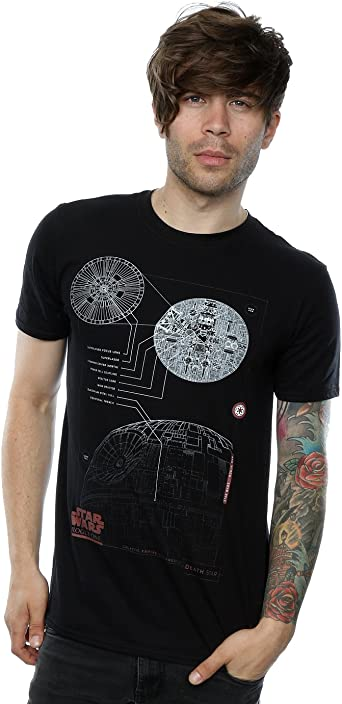 Star Wars Hombre Rogue One Death Star Blueprint Camiseta: Amazon.es: Ropa y accesorios